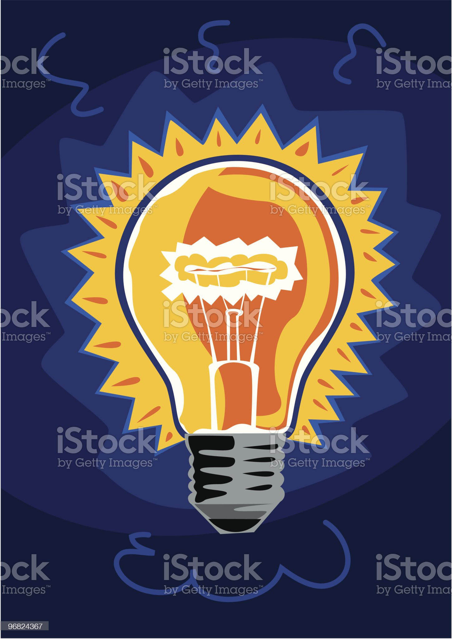 Yellow light bulb on blue background royalty-free stock vector art