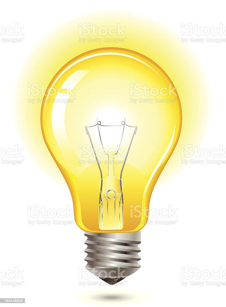 yellow light bulb vector art illustration