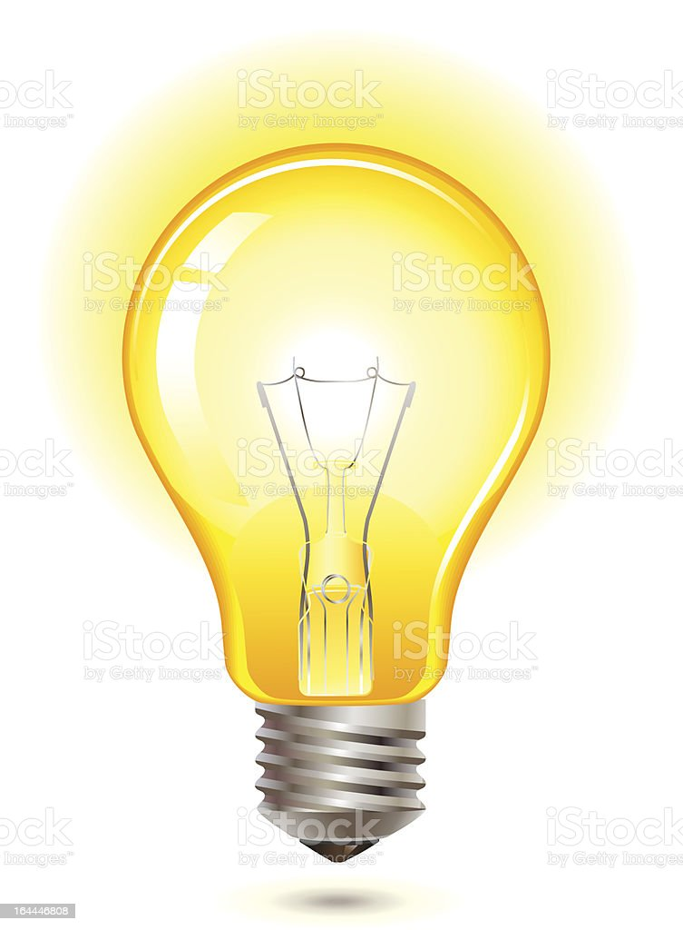 yellow light bulb vector art illustration