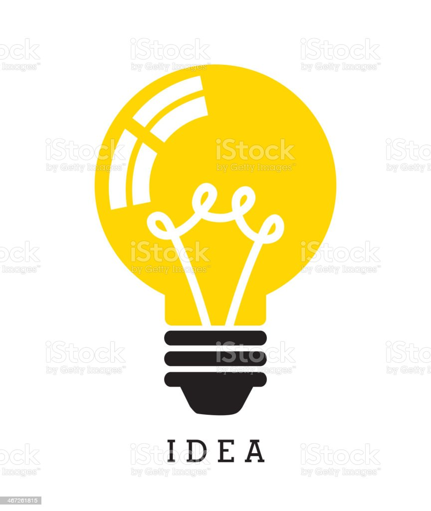 Yellow light bulb with the word idea below it vector art illustration