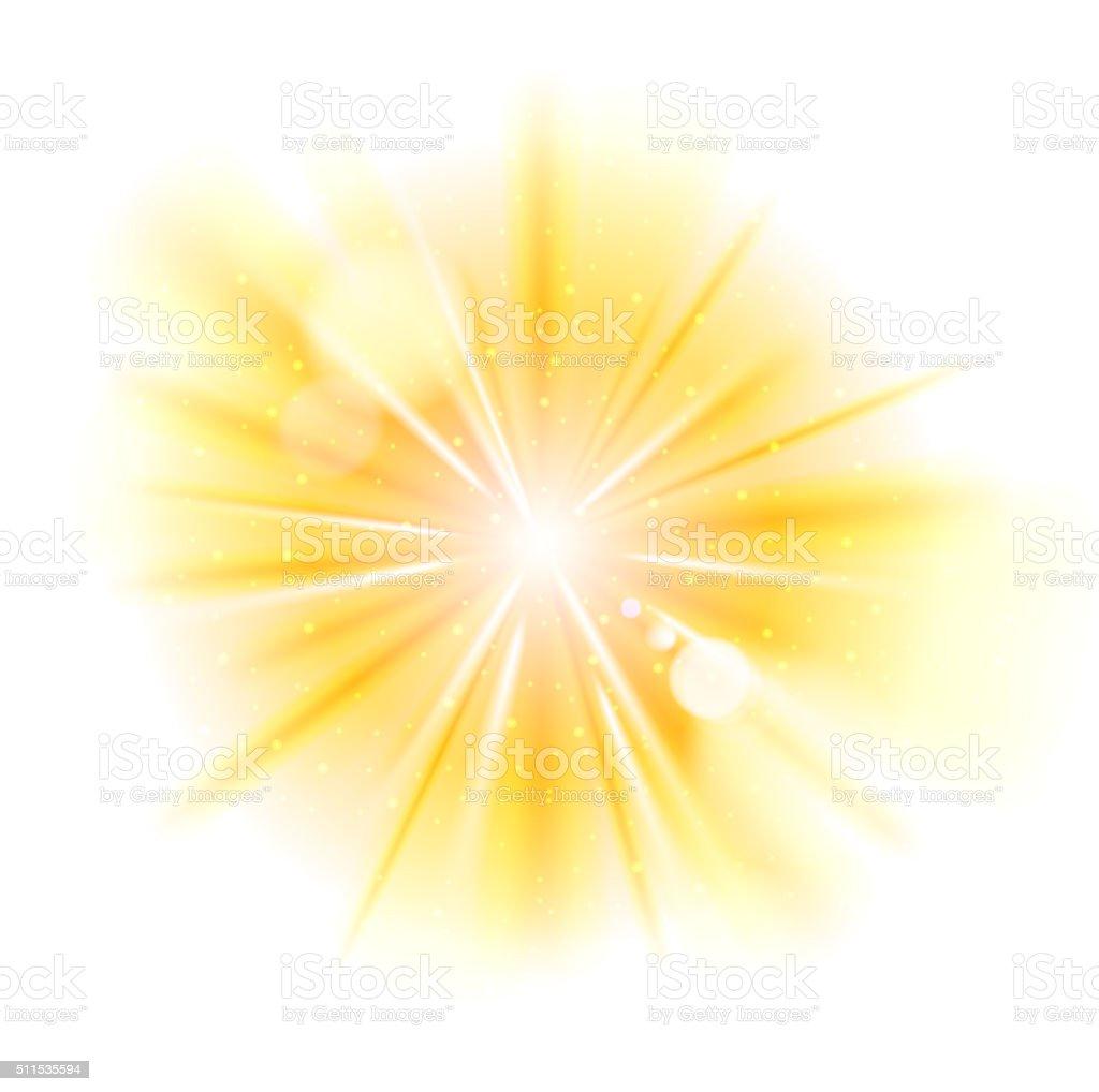 Yellow light sunburst background vector art illustration