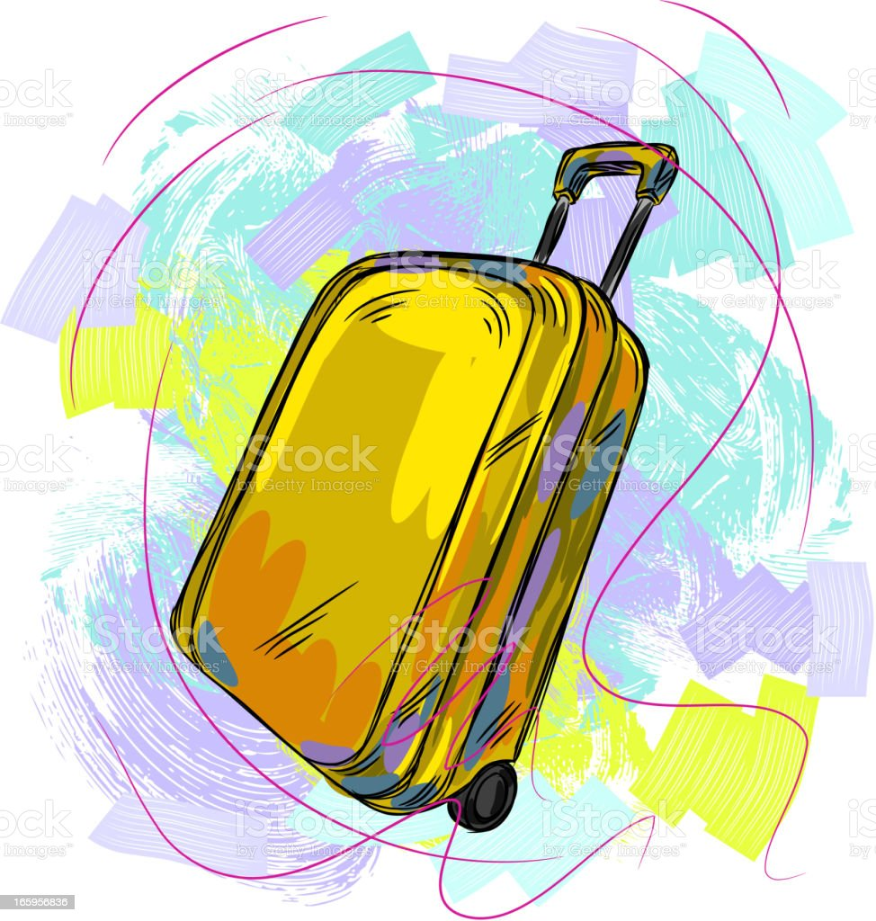 yellow Luggage vector art illustration