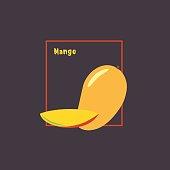 Yellow mango with slice on dark background.