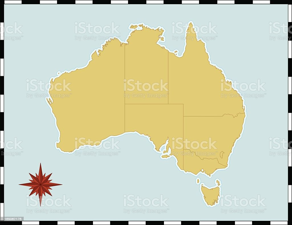 Yellow map of Australia with compass rose royalty-free stock vector art