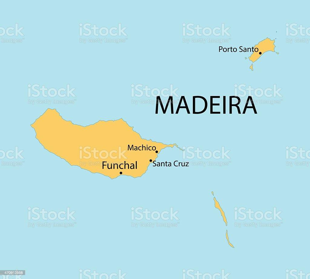 yellow map of Madeira Islands vector art illustration