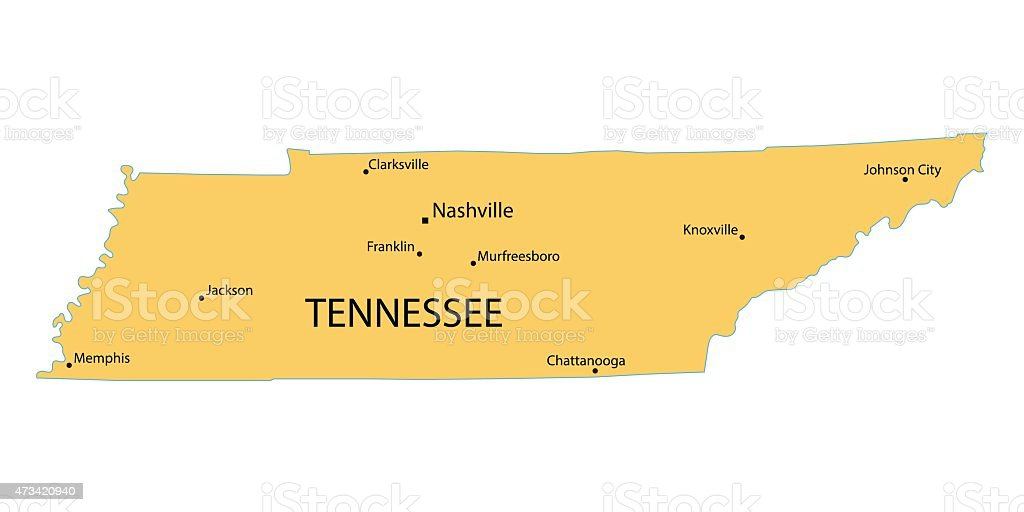 yellow map of Tennessee vector art illustration