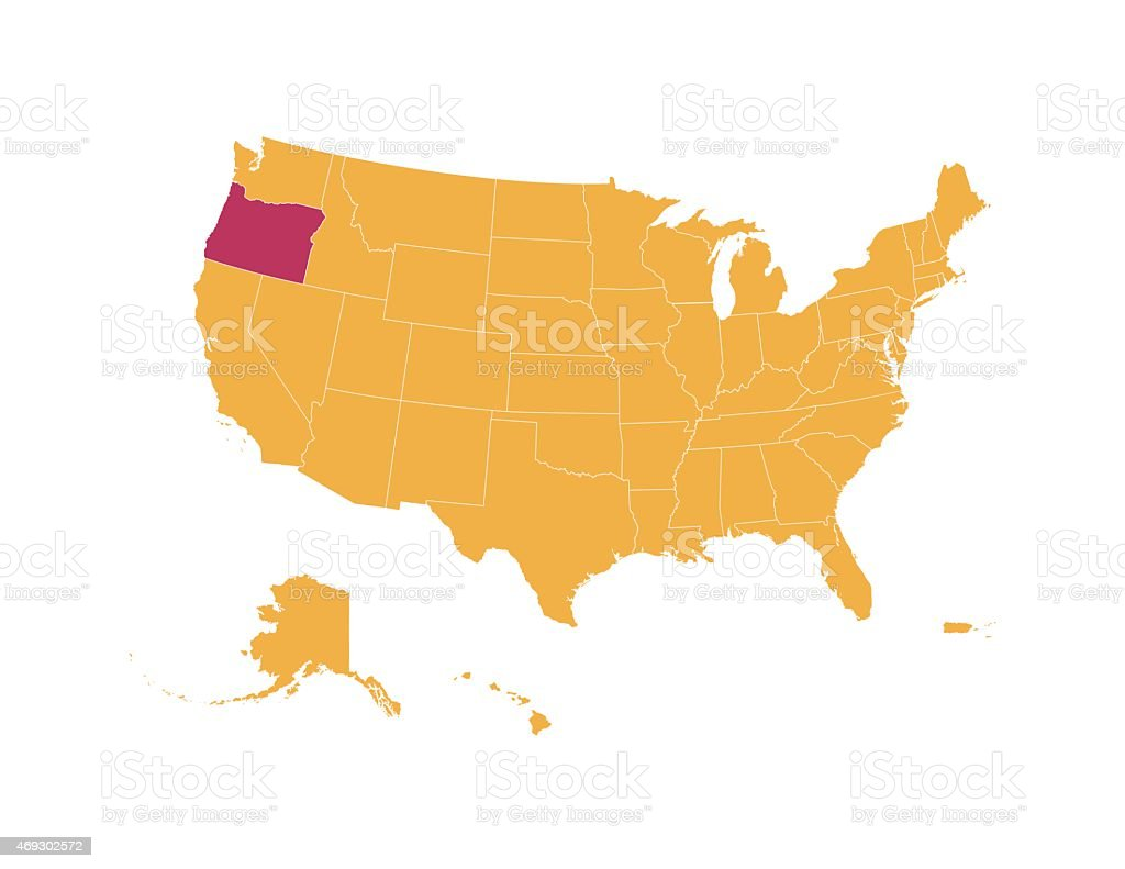 Yellow Map Of Usa With Oregon State Isolated In Red Stock Vector - Map of oregon state usa