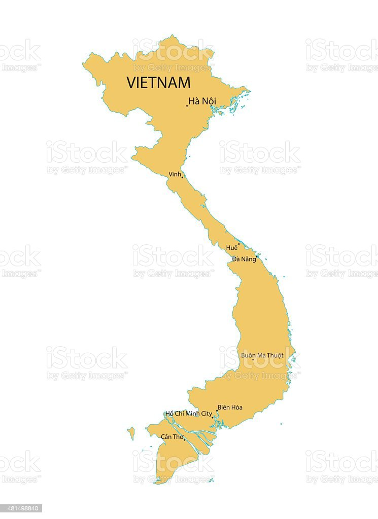 yellow map of Vietnam vector art illustration