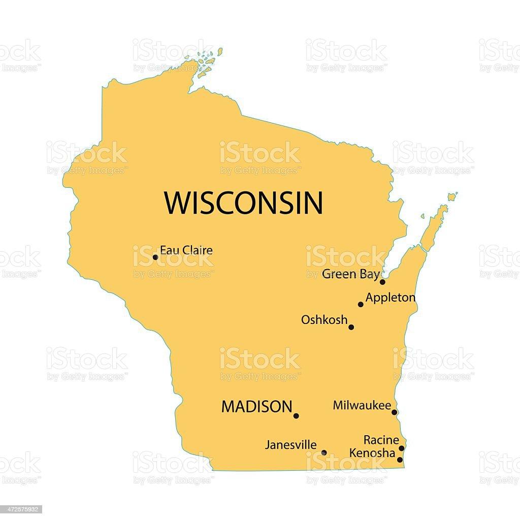 yellow map of Wisconsin vector art illustration