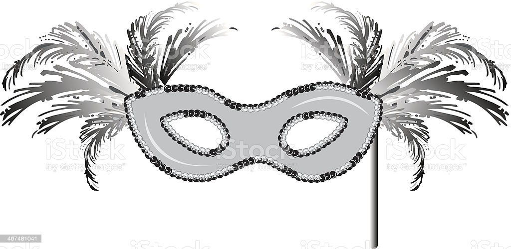 Yellow Mardi Gras Mask vector art illustration