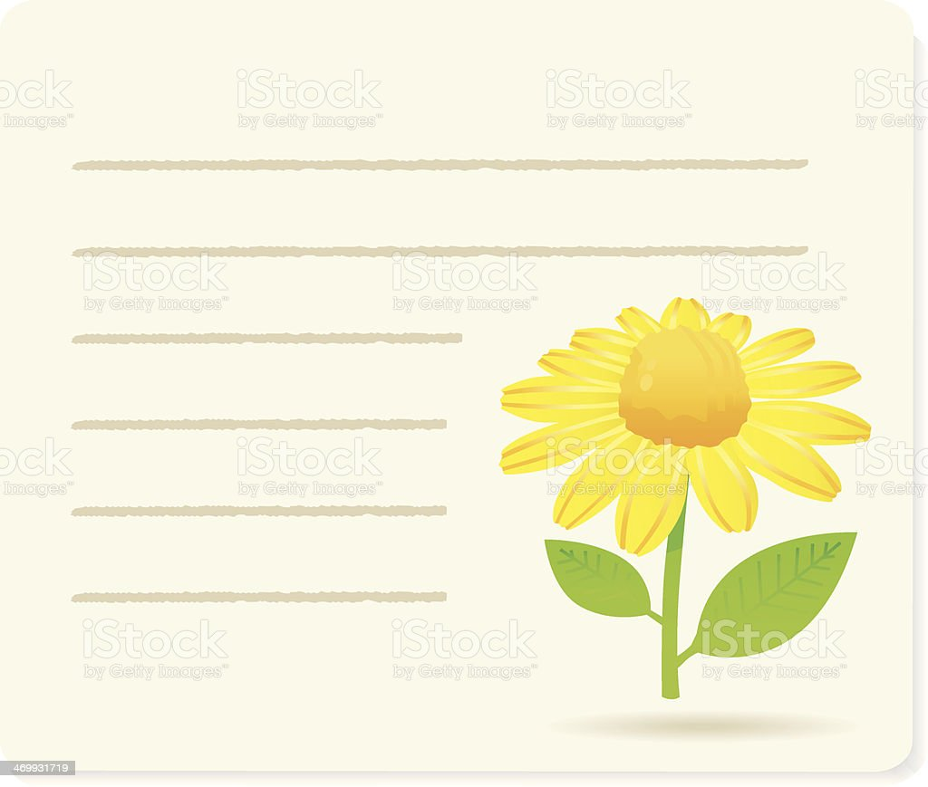 yellow nargueritte on noticepaper. vector art illustration
