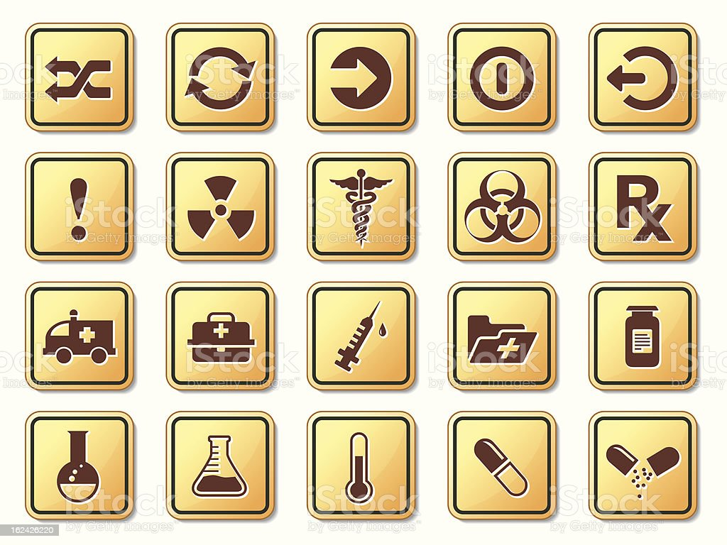 Yellow medical icons royalty-free stock vector art