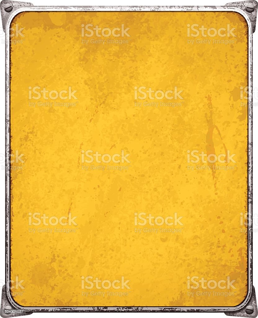 Yellow metal placard with corners and screws_vector vector art illustration
