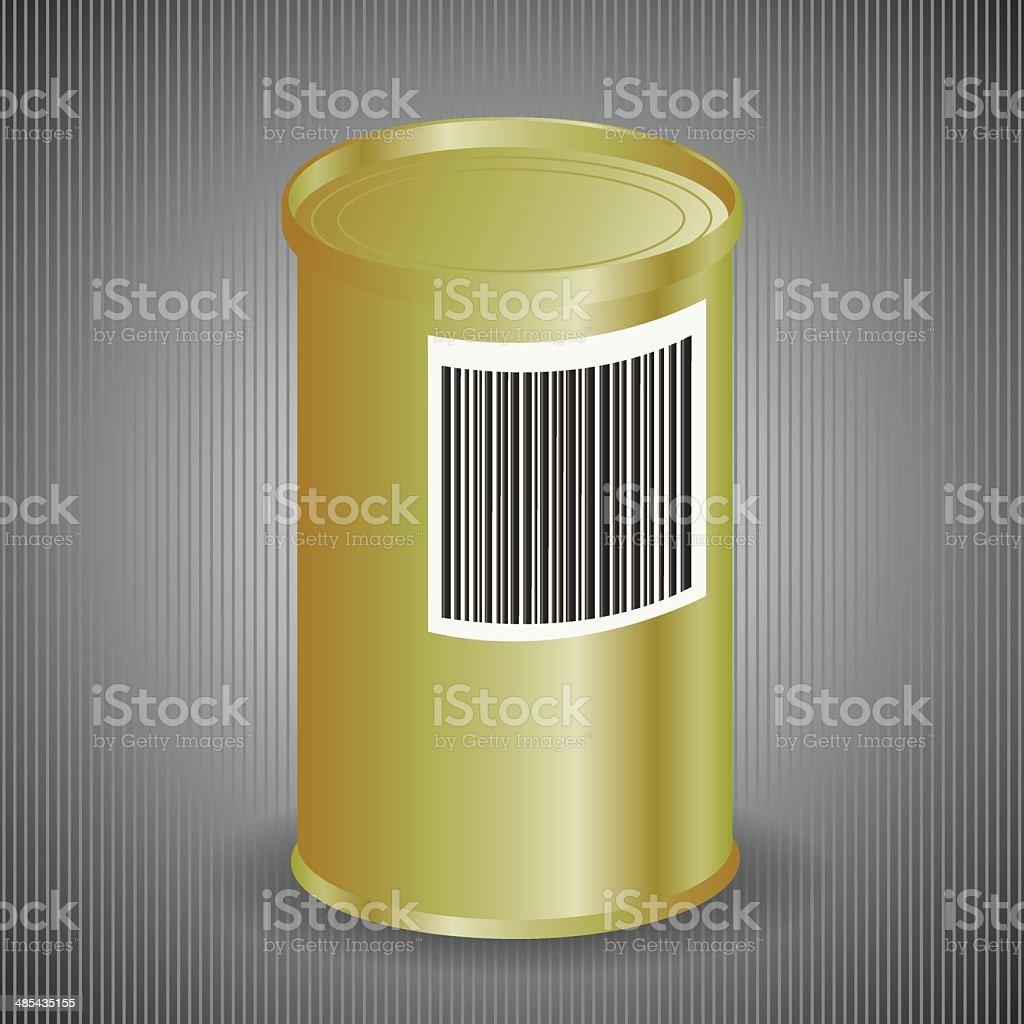 Yellow Metal Tin Can vector art illustration