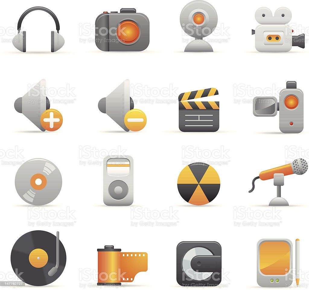Żółte ikony multimedialne stockowa ilustracja wektorowa royalty-free