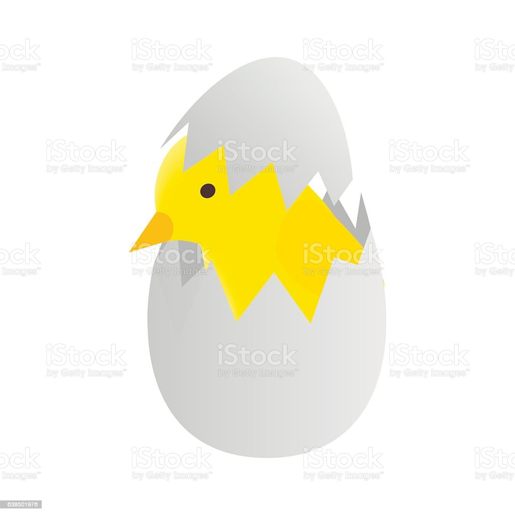 Yellow newborn chicken hatched from an egg icon vector art illustration