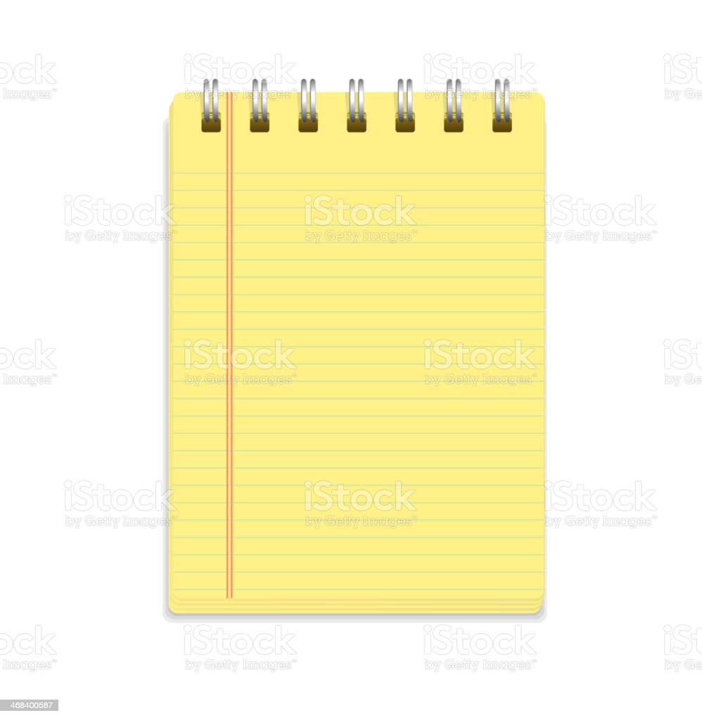 Yellow note paper and rings vector art illustration