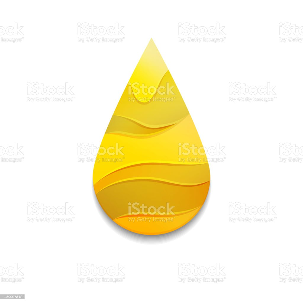 Yellow Oil Drop with Waves vector art illustration