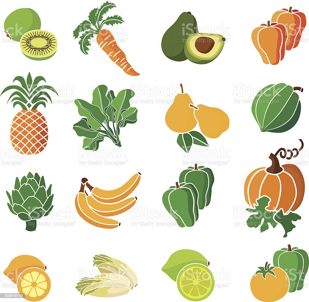 yellow, orange and green produce vector art illustration