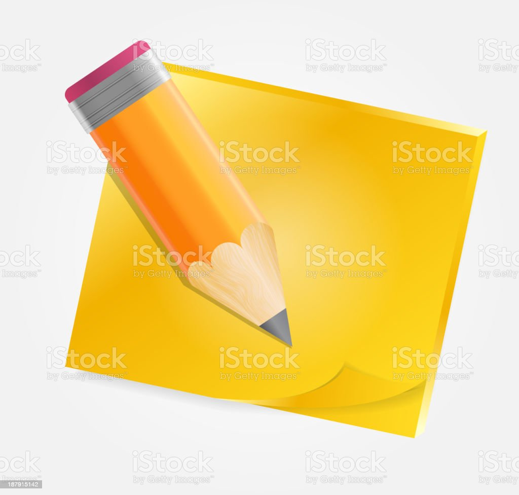 Yellow paper with pencil  vector illustration royalty-free stock vector art