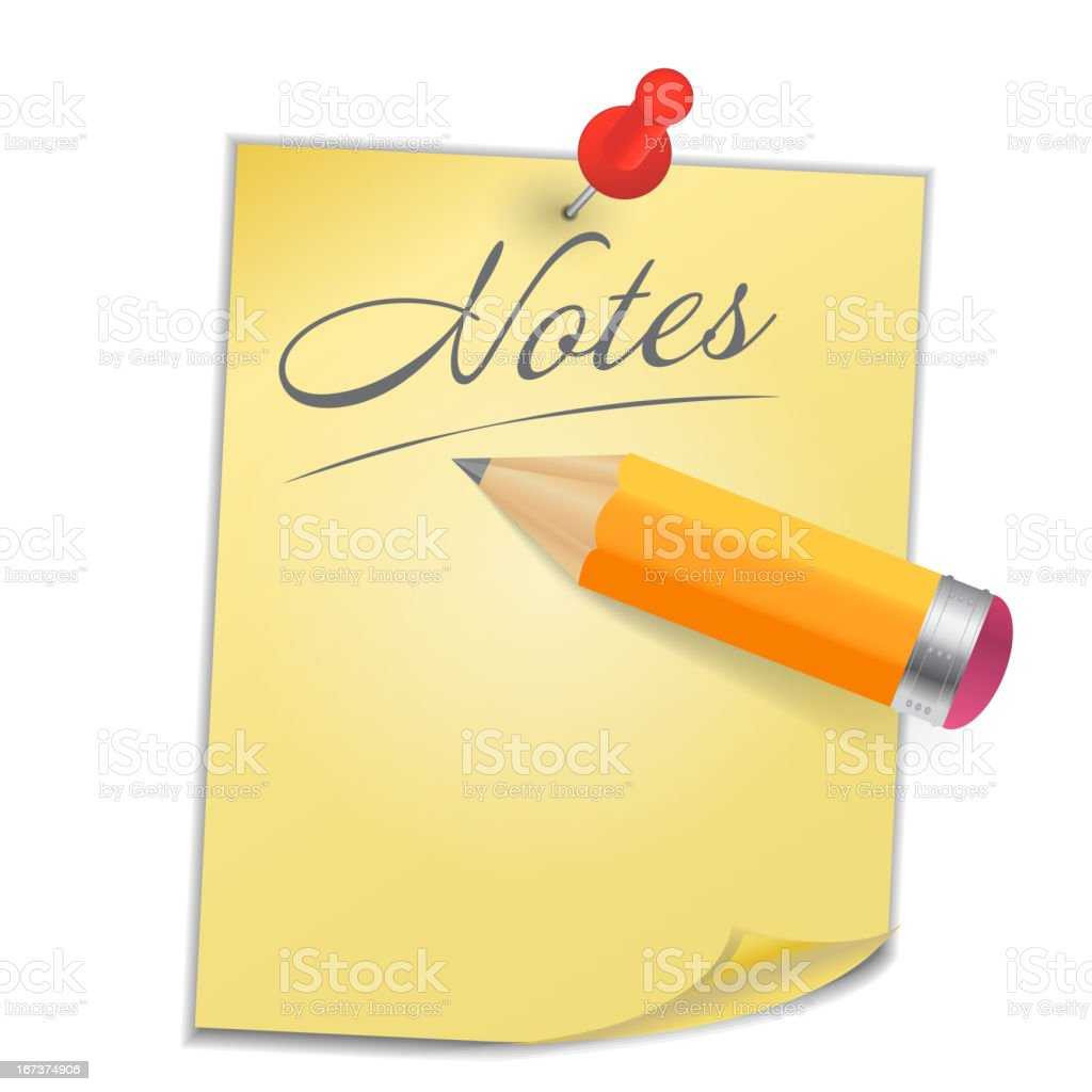 Yellow paper with pin on white background vector illustration royalty-free stock vector art