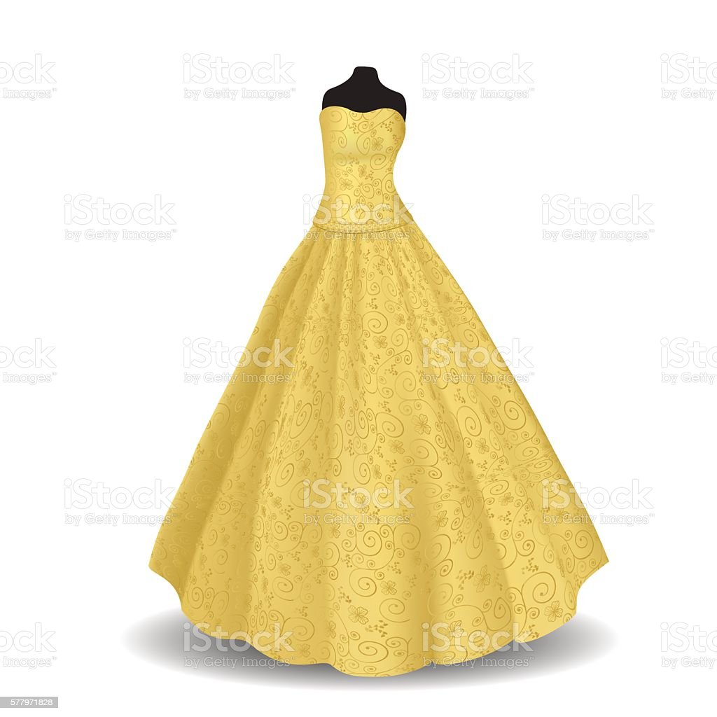 yellow party dress on a white background vector art illustration