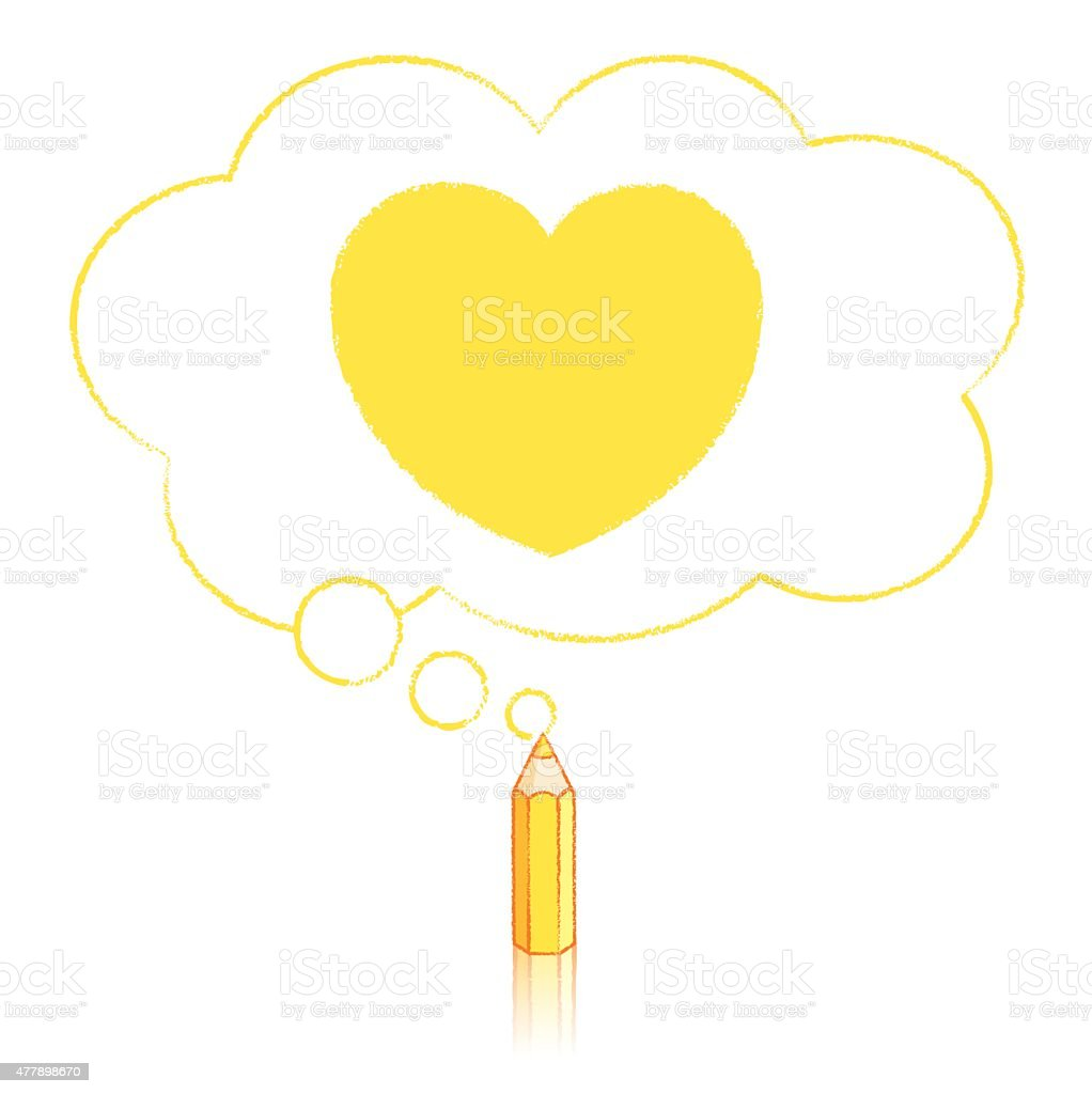 Yellow Pencil Drawing Heart in Fluffy Cloud Thought Balloon vector art illustration