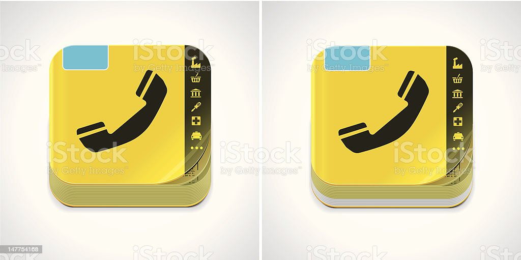 Yellow phone book icon vector art illustration