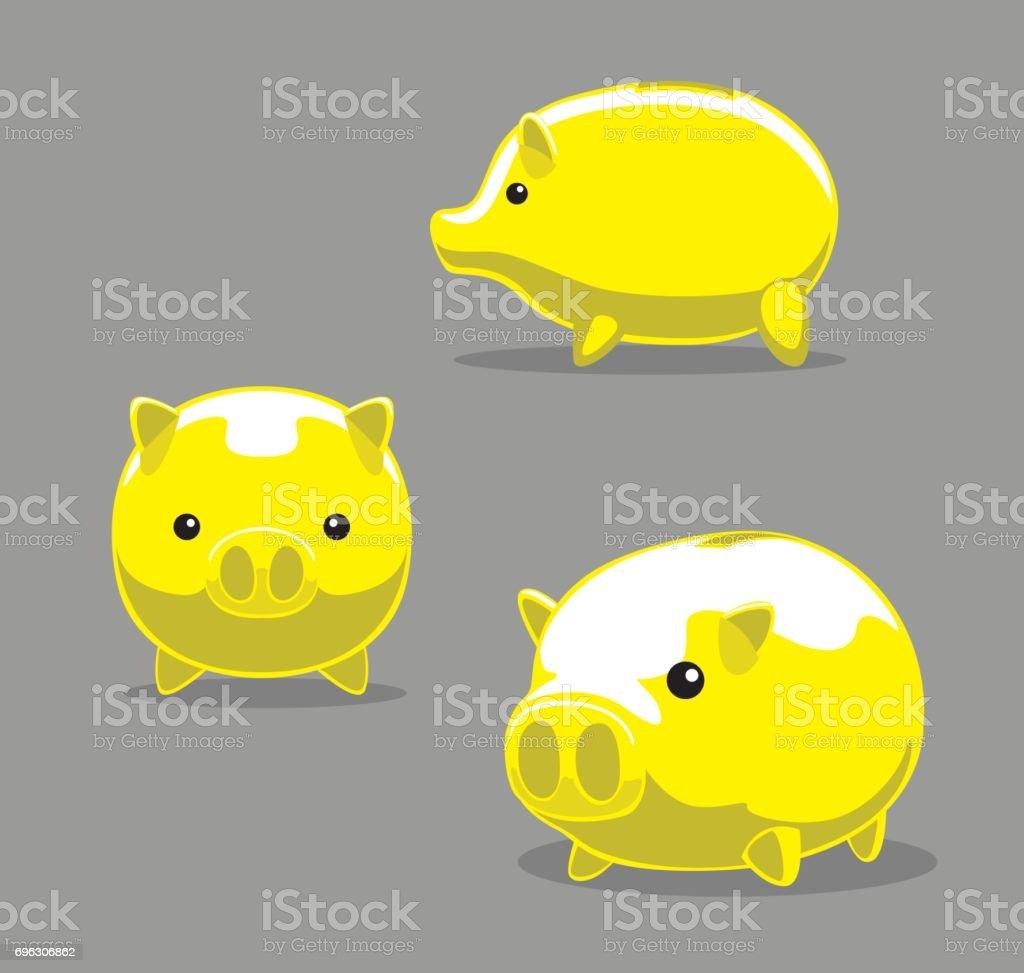 Yellow Pig Cartoon Vector Illustration vector art illustration