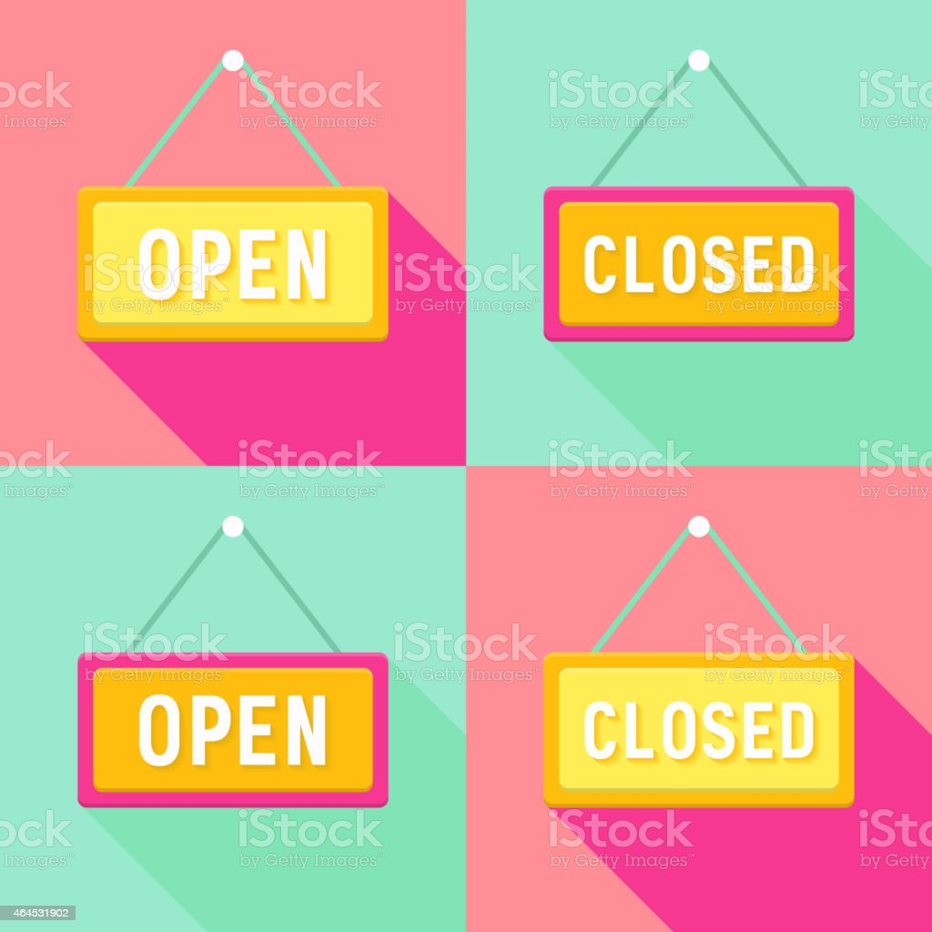 Yellow Pink Cyan Open and Closed Signs Set vector art illustration