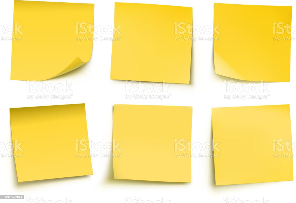yellow post it notes vector art illustration