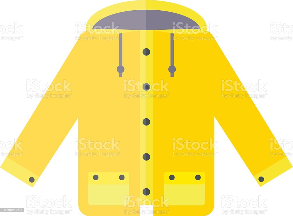 Yellow raincoat weather jacket cartoon vector illustration vector art illustration