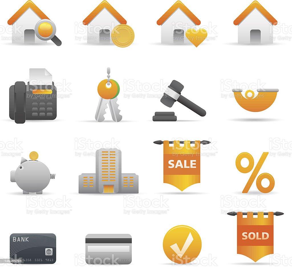 Żółty nieruchomości ikony stockowa ilustracja wektorowa royalty-free
