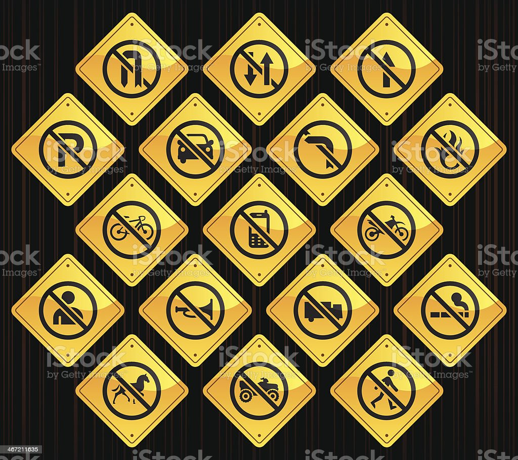 Yellow Restriction Road Signs vector art illustration