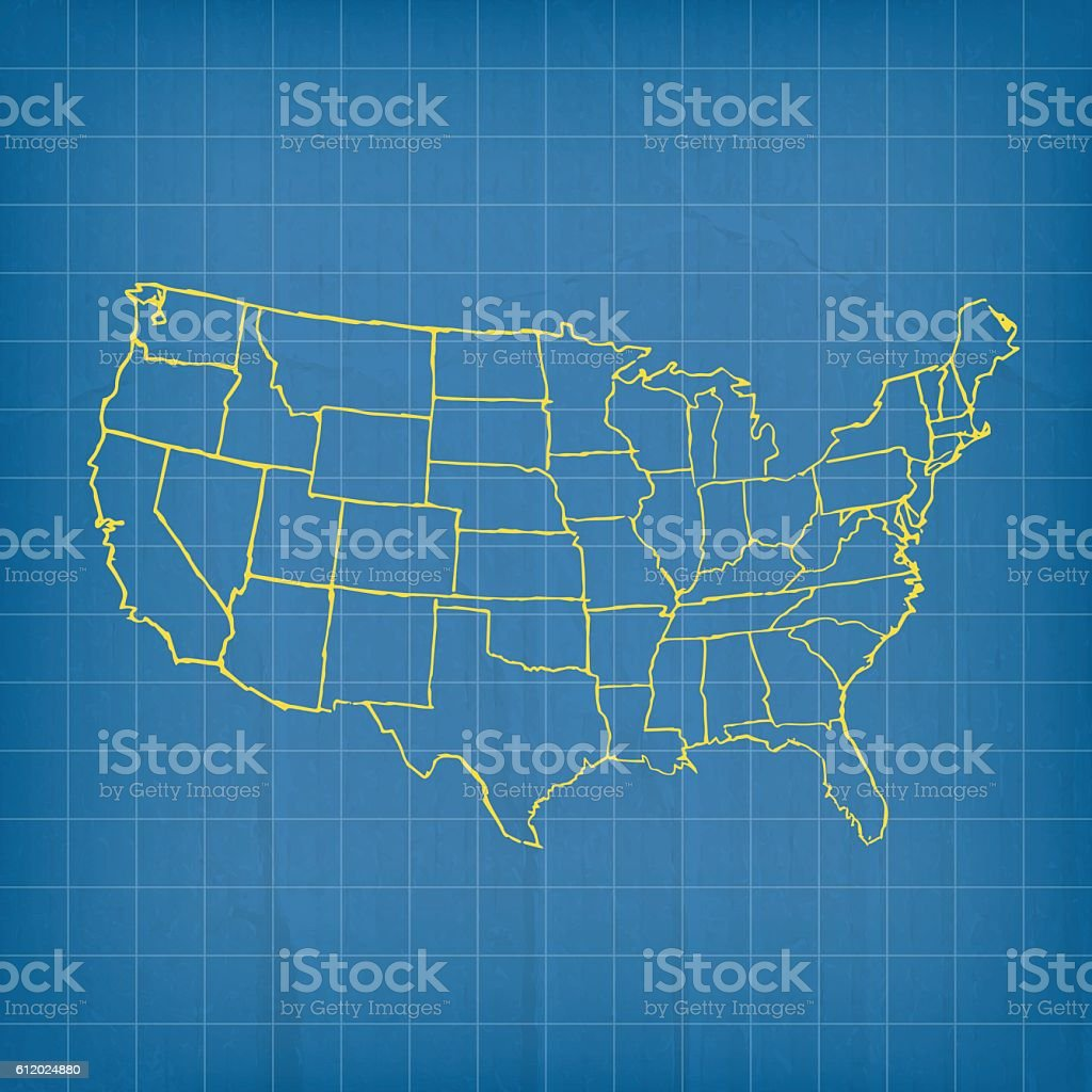 USA yellow retro map scribbled on blue background vector art illustration