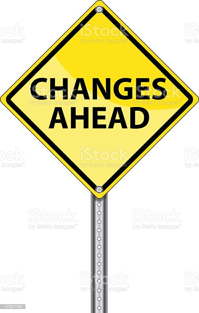 Yellow Road Sign | Changes Ahead vector art illustration
