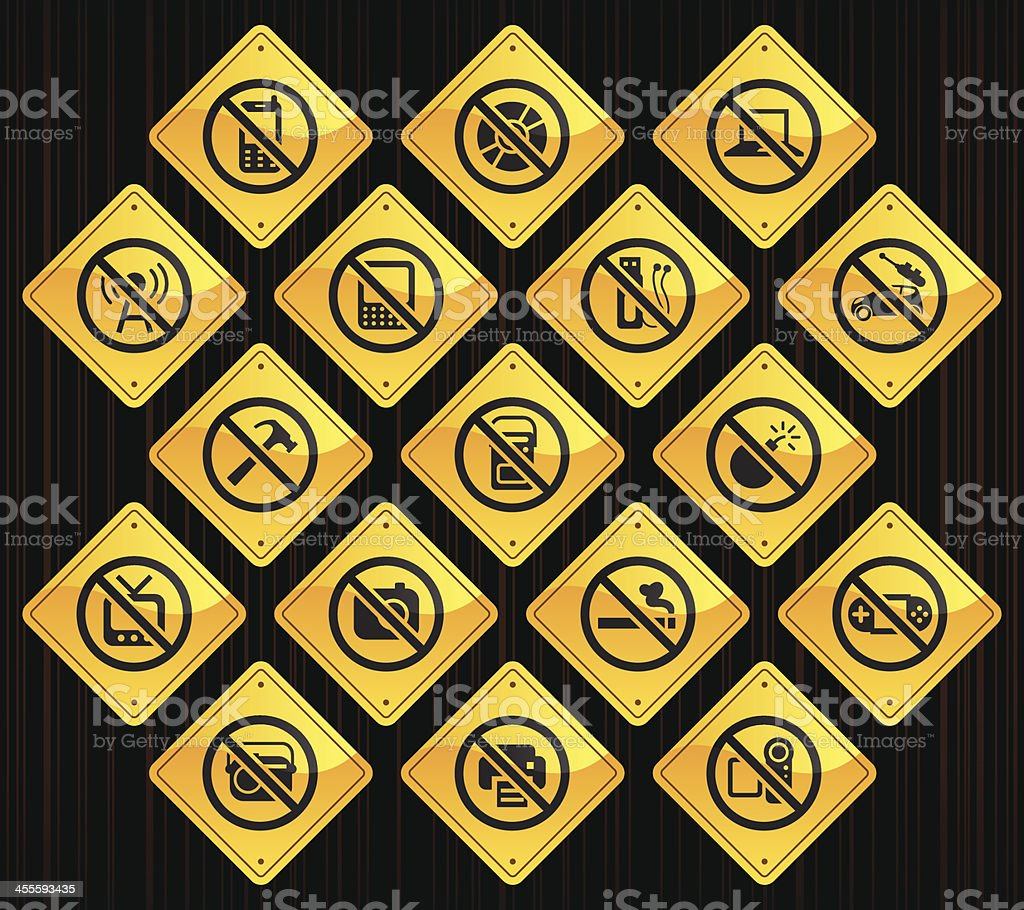 Yellow Road Signs - Airplane On Board Restrictions vector art illustration