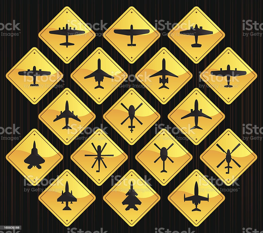 Yellow Road Signs - Airplanes & Helicopters royalty-free stock vector art