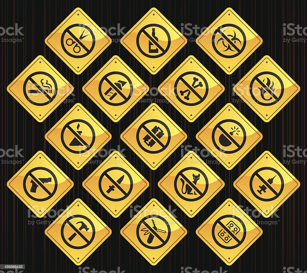 Yellow Road Signs - Airport Security vector art illustration