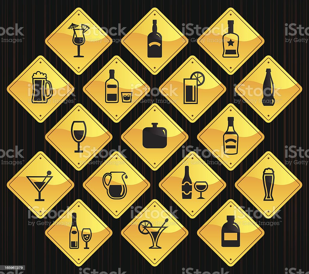 Yellow Road Signs - Alcohol vector art illustration