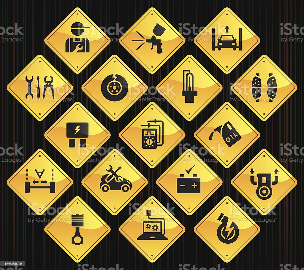 Yellow Road Signs - Automobile Repair Shop vector art illustration
