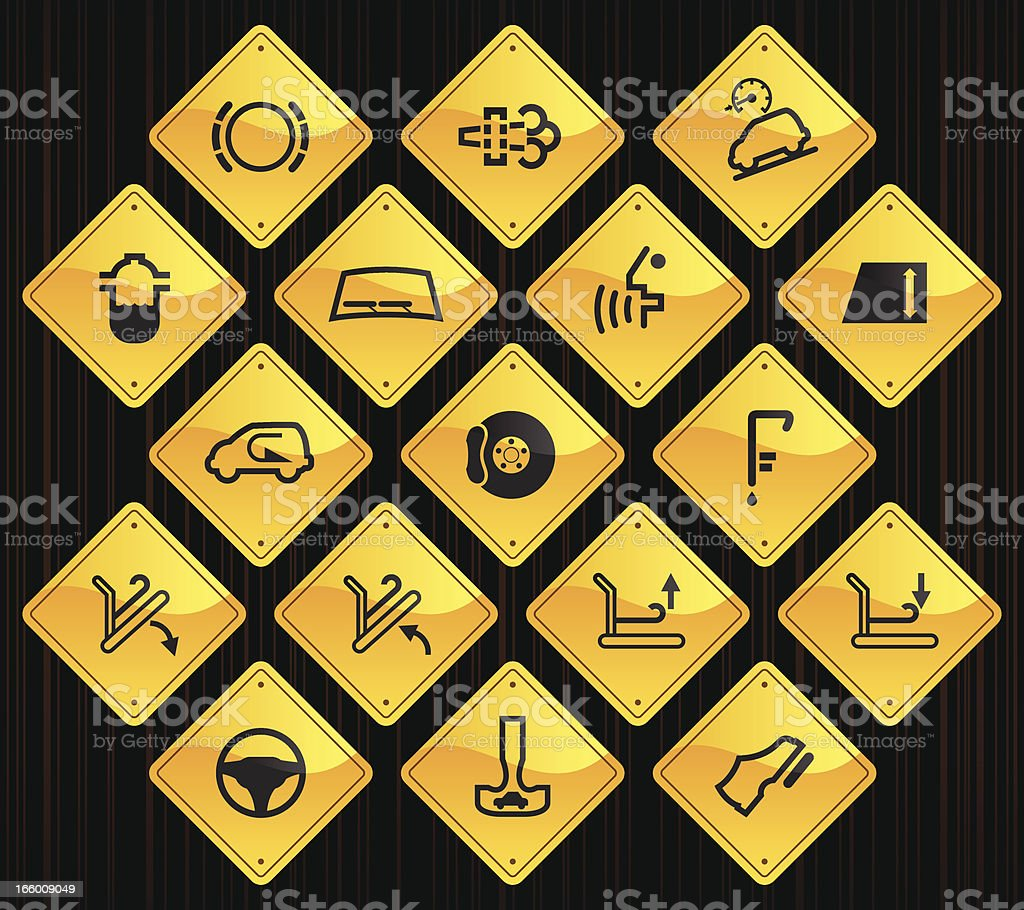 Yellow Road Signs - Car Control Indicators royalty-free stock vector art