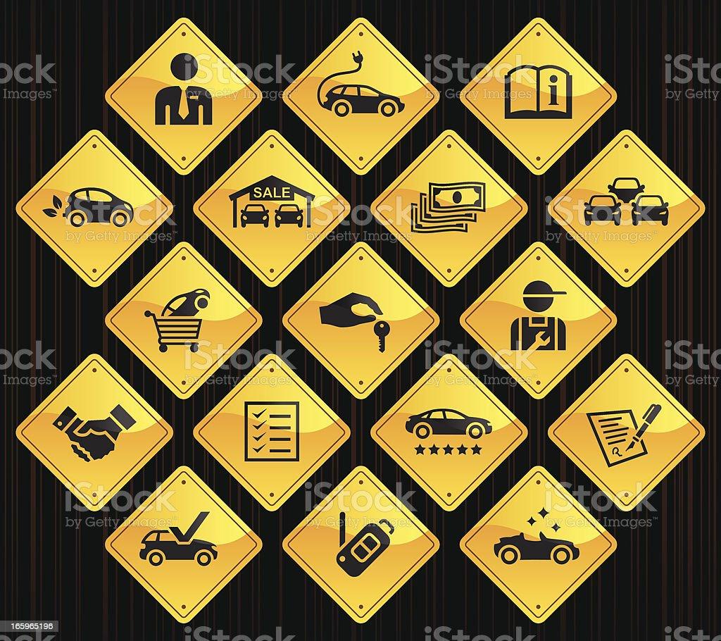 Yellow Road Signs - Car Dealership royalty-free stock vector art