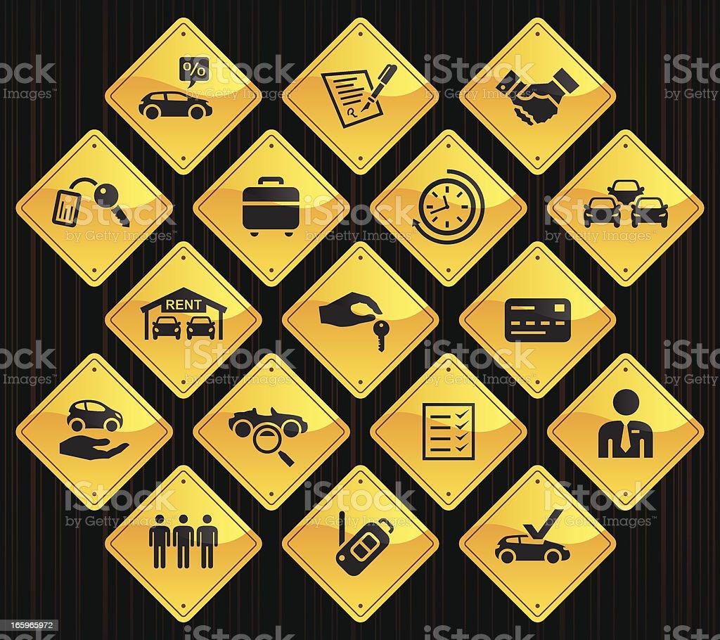 Yellow Road Signs - Car Rental royalty-free stock vector art
