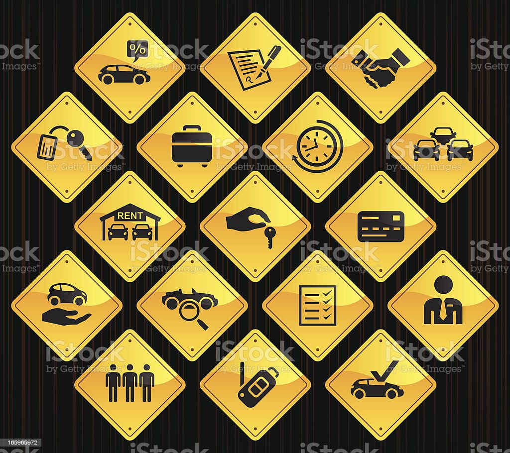 Yellow Road Signs - Car Rental vector art illustration