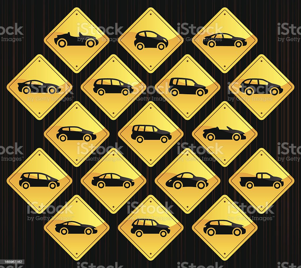 Yellow Road Signs - Cartoon Cars vector art illustration
