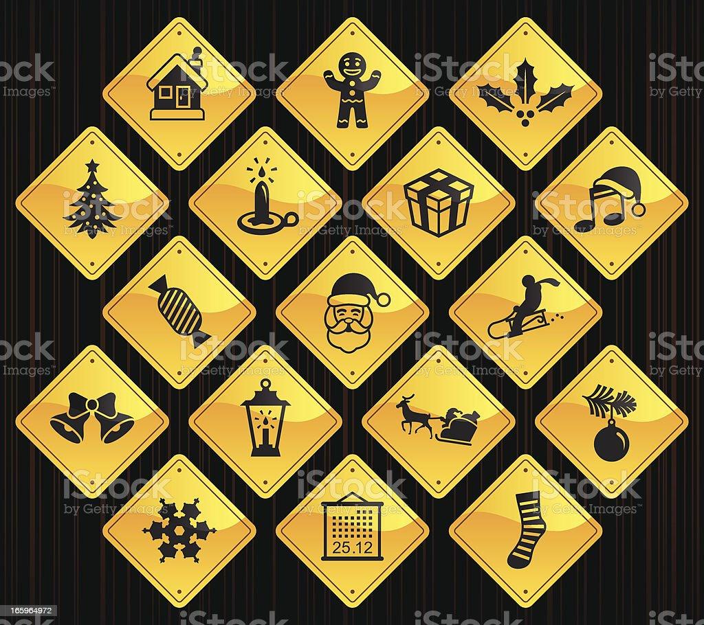 Yellow Road Signs - Christmas royalty-free stock vector art