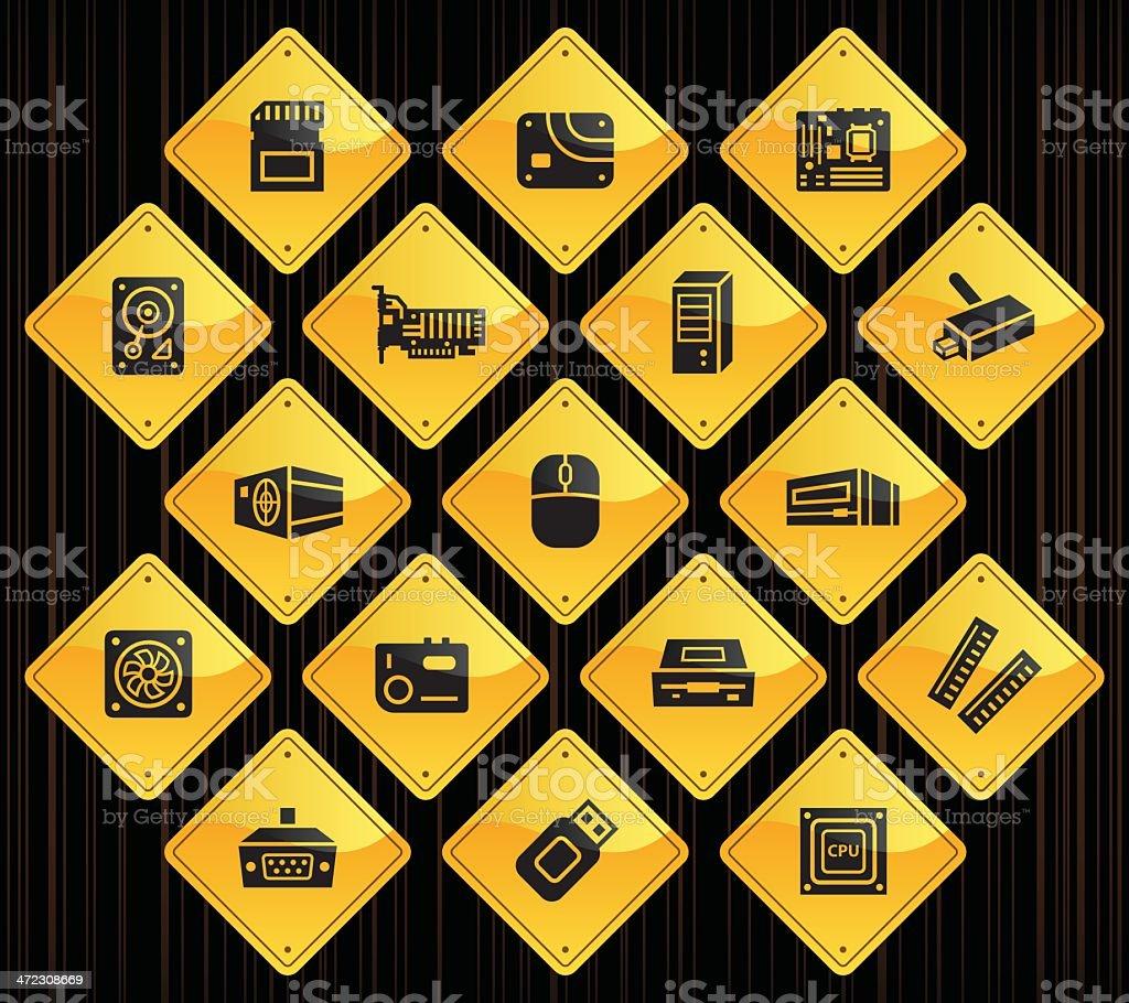 Yellow Road Signs - Computer Parts royalty-free stock vector art