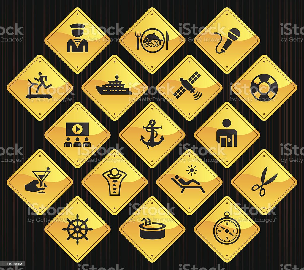 Yellow Road Signs - Cruise Ship vector art illustration