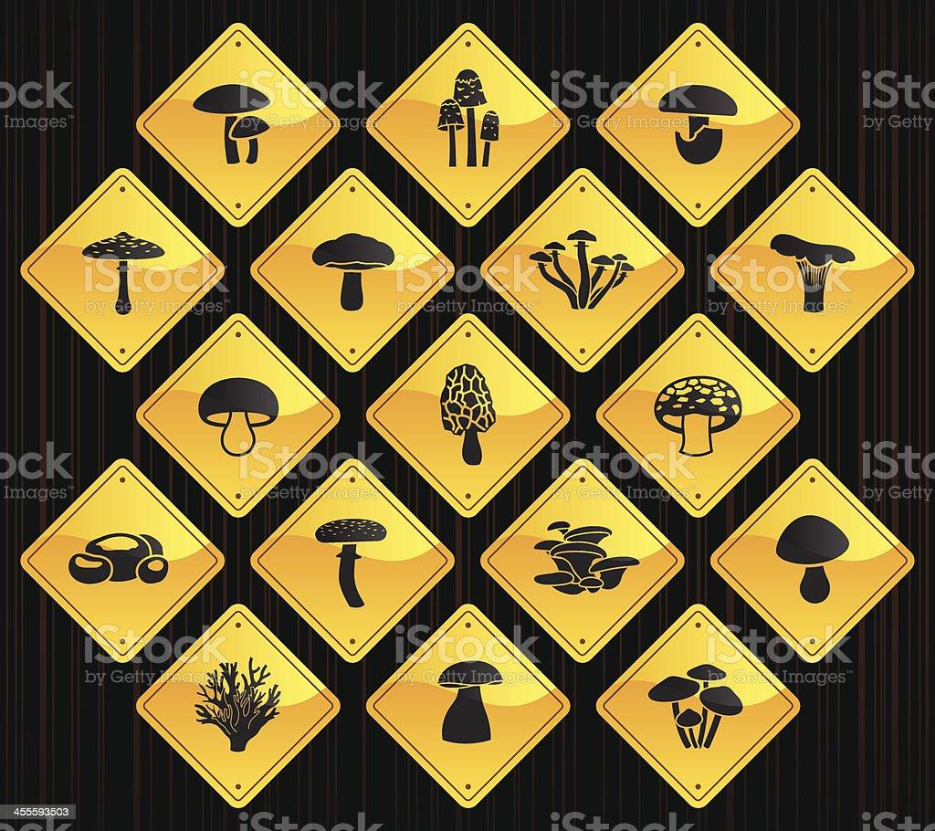 Yellow Road Signs - Edible Mushrooms royalty-free stock vector art